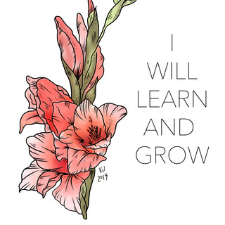 I Will Learn and Grow, Lucky Little Queer, floral therapy affirmation art