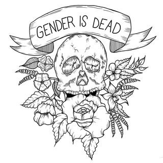 Gender Is Dead, Lucky Little Queer LGBTQ skull art