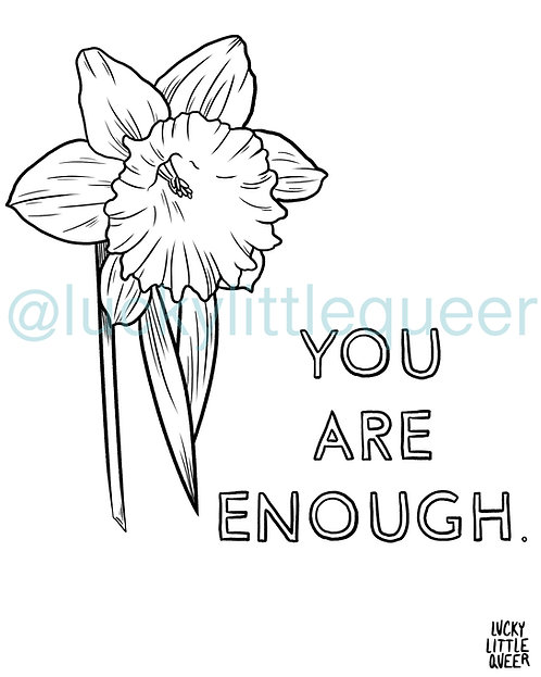 Print-at-Home Colouring Sheet - You Are Enough