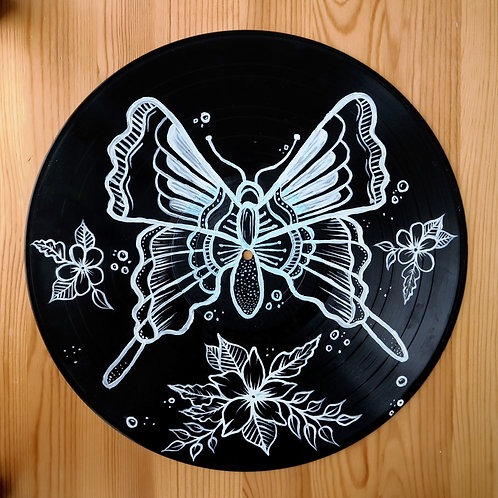 Large Butterfly Hand-Painted Vinyl Record