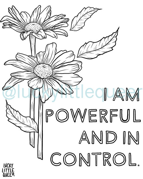 Print-at-Home Colouring Sheet - I am Powerful and in Control