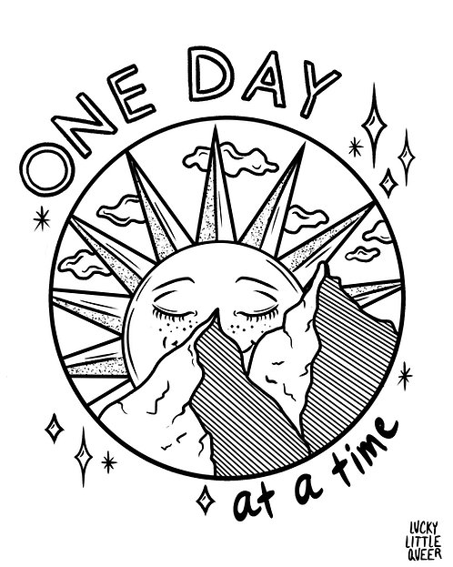 Print-at-Home Colouring Sheet - One Day at a Time