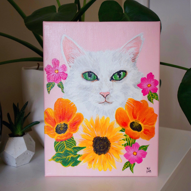 Lucky Little Queer: freelance artist's acrylic on canvas pet portrait commission