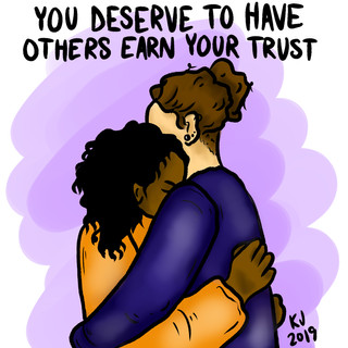 You Deserve to Have Others Earn Your Trust, Lucky Little Queer therapy affirmation art