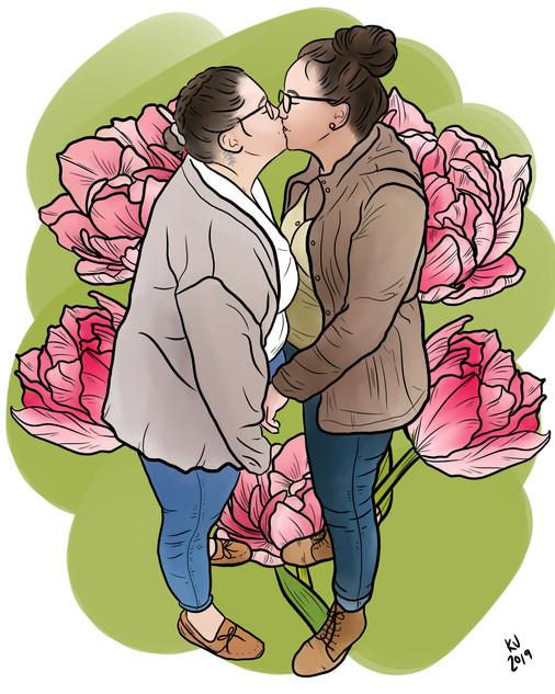 Lucky Little Queer: freelance artist's custom digital couple portrait