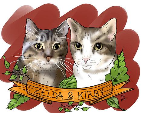 Two Figure Digital Pet Portrait