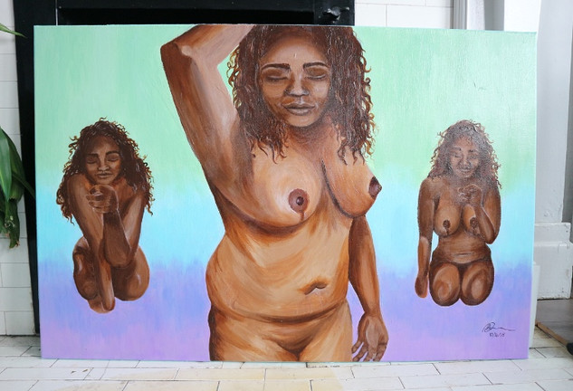 Lucky Little Queer: freelance artist's custom nude acrylic on canvas portrait