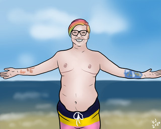 Lucky Little Queer: freelance artist's custom nude digital portrait