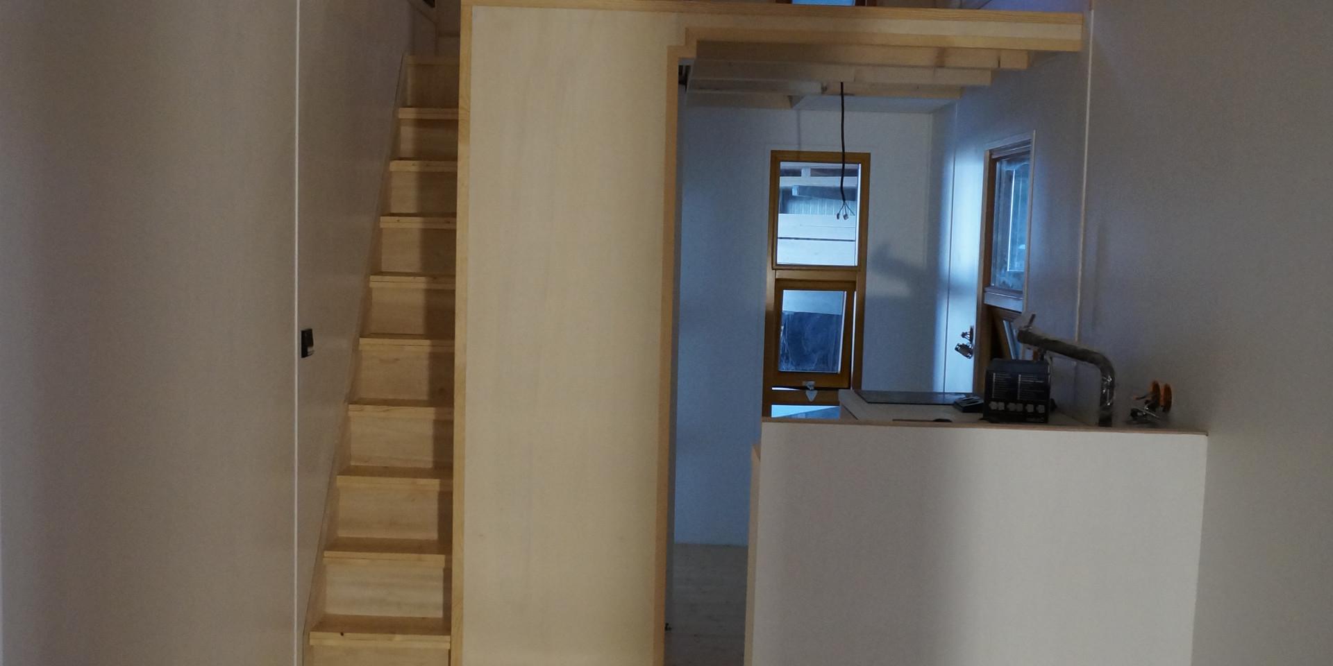 Treppensystem und Wohnraum