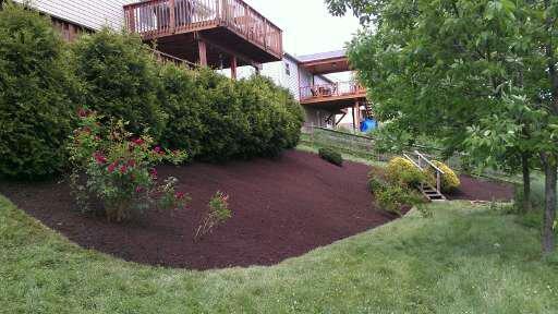 Hillside mulch after