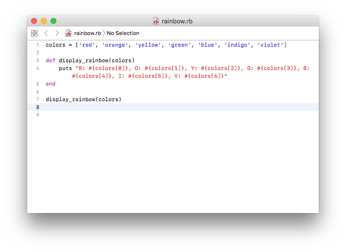 Xcode window Ruby Programming