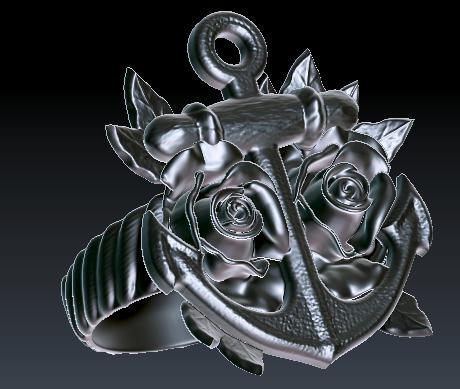 Anchor & Roses Ring
