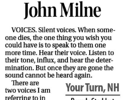 SILENT VOICES: Denise Robert, John Milne