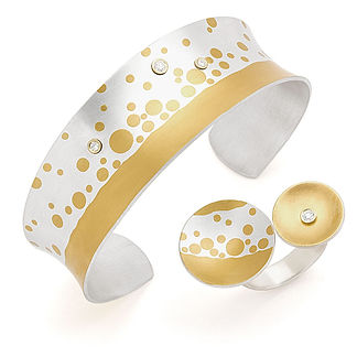 Bubbly Cuff Bubbly Ring, Keum-Boo, Argentium Silver, 24K.jpg