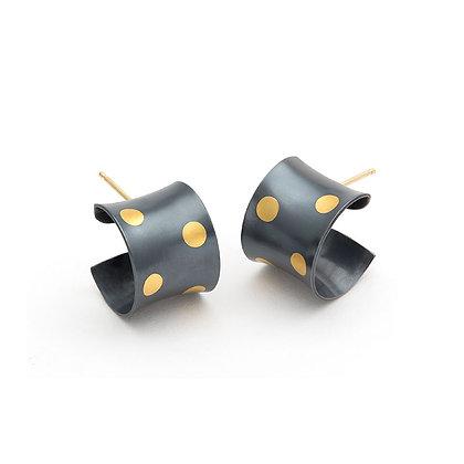 Polka Dots cuff earrings Argentium silver 24k foil Keum Boo blackened
