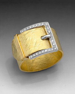 Crinkled Gold Buckle Ring