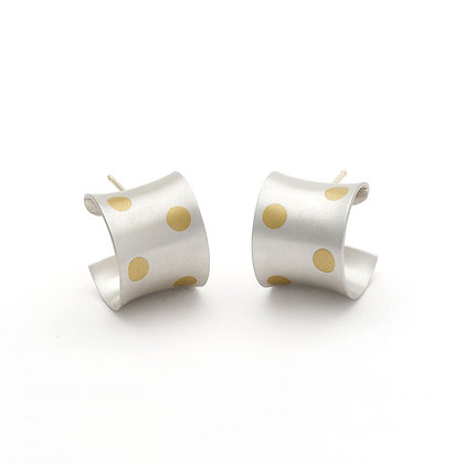 Polka Dots Cuff earrings Argentium silver 24k foil Keum Boo