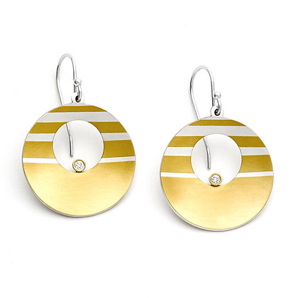 Sunrise earrings  Argentium silver 24k foil Keum Boo lab-grown diamonds