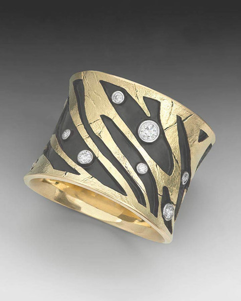 "Crinkled Gold ""Zebra"" Ring"
