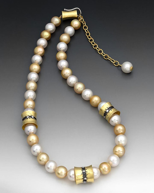 "Crinkled Gold ""South Sea Pearl Necklace"""