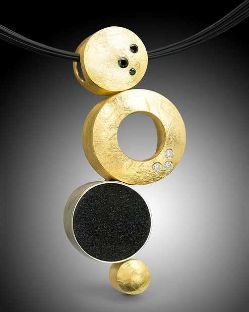 "Crinkled Gold ""Circle"" Pendant"