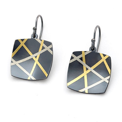 Mikado earrings, blackened Argentium silver 24k foil Keum Boo