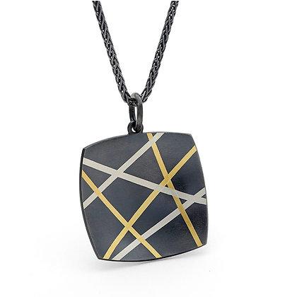 Mikado pendant Argentium silver 24k foil Keum Boo blackened
