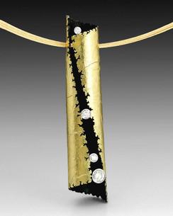 "Crinkled Gold ""Parchment"" Pendant"