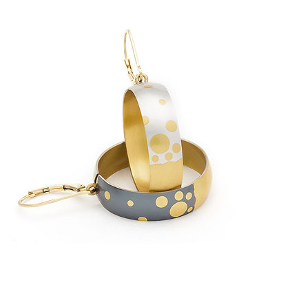 bubbly reversible earrings Argentium silver 24k foil Keum Boo blackened white