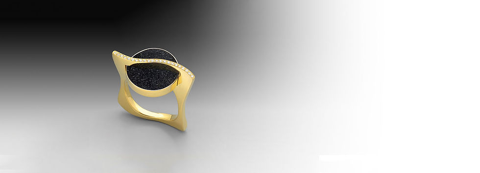 Black Drusy Ring 18k Yellow Gold