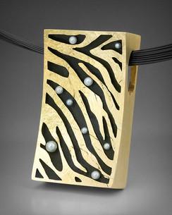 """Crinkled Gold """"Zebra"""" Pendant"""