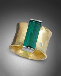 Crinkled Gold Tourmaline Ring