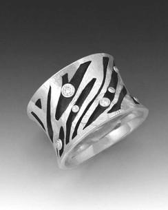 """Crinkled Gold """"Zebra"""" Ring"""