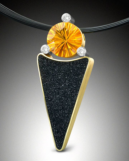 """Drusy and Citrine"" Pendant"