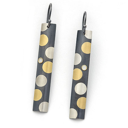 Dots earrings Argentium silver 24k foil Keum Boo blackened lab-grown diamonds