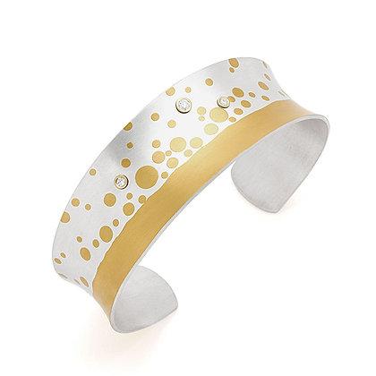 Bubbly Cuff Bracelet Argentium silver 24k foil Keum Boo lab-grown diamonds