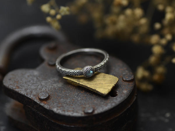 ENGRAVED RING with STONE
