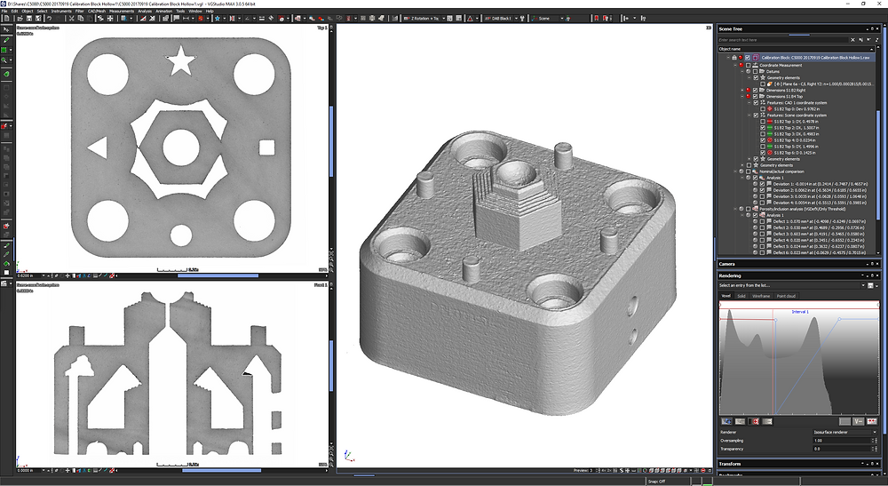 CT scan cut away of aluminum additively manufactured calibration block, showing hidden features