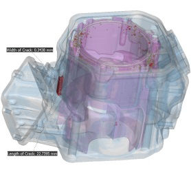 Engine cylinder casting with internal cracks and porosity.