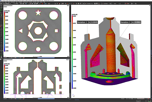 CAD to Part comparison, with a CAD model overlay with the actual additive manufactured part.  The deviations are shown with color variations heat map