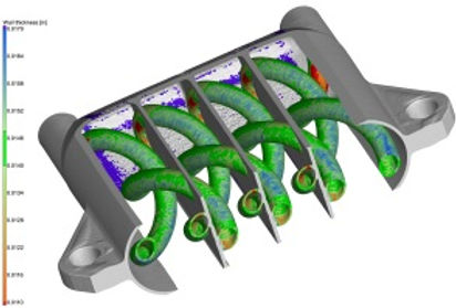 Additively manufactured chemical reactor that has been CT scanned. The CT data is then post processed for a wall thickness analsis using Volume Graphics software.