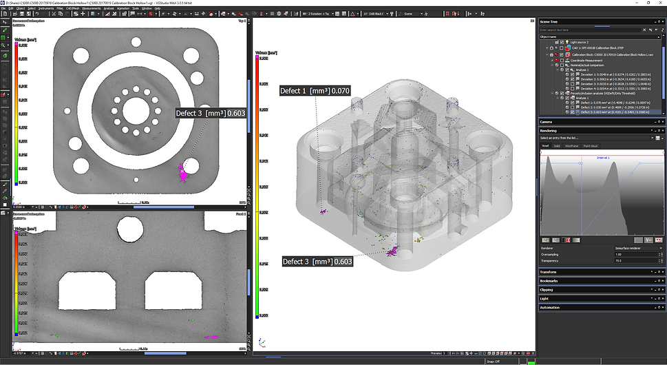 porosity analysis using volume graphics software shows porosity in 2D & 3D space