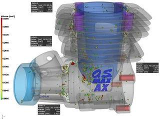 porosity analysis of RC engine using Volume Graphics software