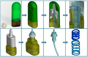 This image shows the level of detail for segmentation of a nasal spray device.