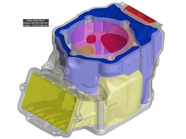 CT scan of a small engine casting where we used Volume Graphics software to segment and measure the internal waterjacket.