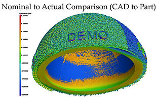 Part-to-CAD comparison of 3D printed hip cup showing deviations in a 3D model