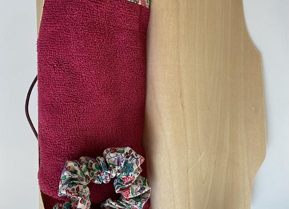 Coffret bois turban éponge cheveux et chouchou assortis