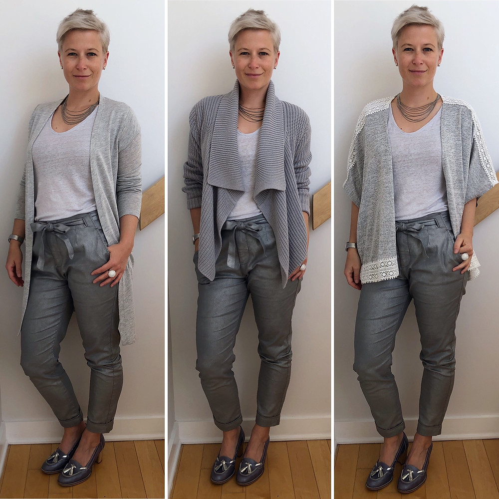 Trois options de looks pour porter le gris de la tête aux pieds.