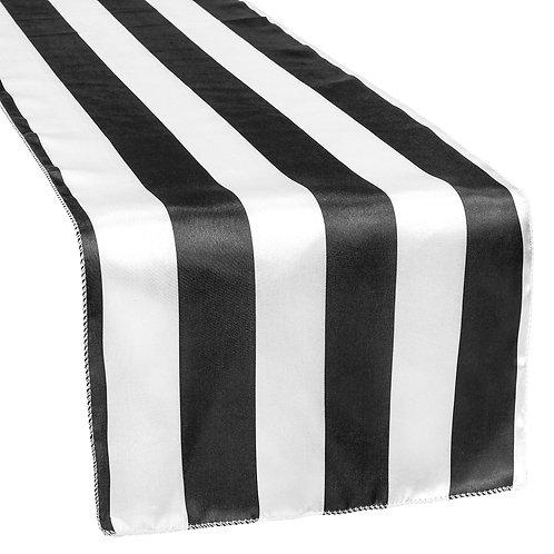Stripe Satin Table Runner - Black & White