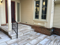 Stone Tile Front Porch Installation